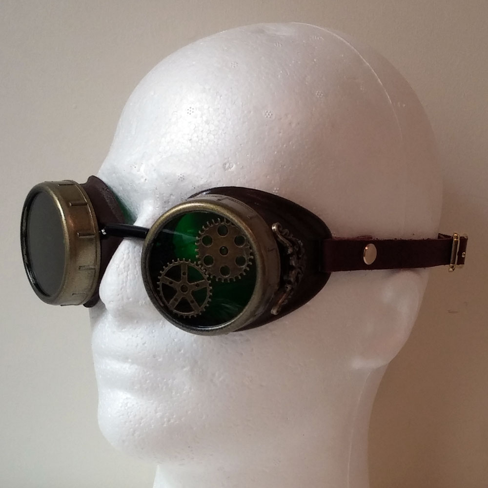 rustic brown steampunk goggles with brass toned filigree