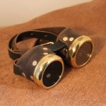 brass screened leather goggles