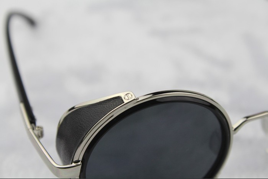 Silver Steampunk Glasses - Gray Smoked Lenses - John Lennon Influenced - Close-up