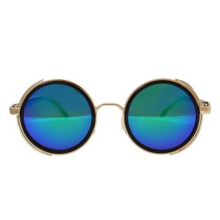 Round Sunglasses: Gold, Blue/Green Mirror Lenses, Side Shields