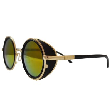 Gold sunglasses with side shields and red / gold lenses