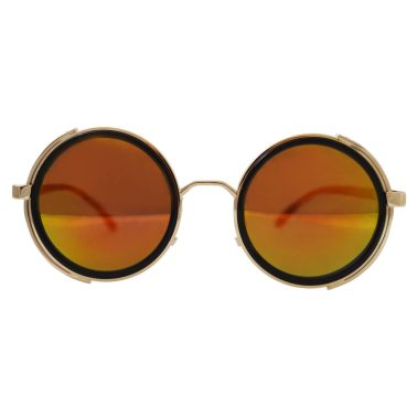 Gold sunglasses with side shields and red / gold lenses - front