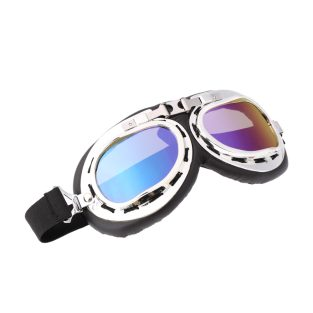 Silver aviator goggles, blue / green lenses