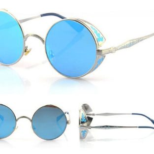 Silver Toned Sunglasses: Blue Lenses and Filigree Side Shields