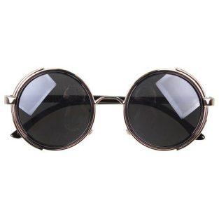 Silver Steampunk Glasses - Gray Smoked Lenses - John Lennon Influenced