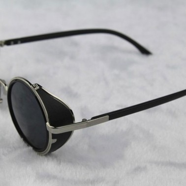 Silver Steampunk Glasses - Gray Smoked Lenses - John Lennon Influenced - 3/4 View