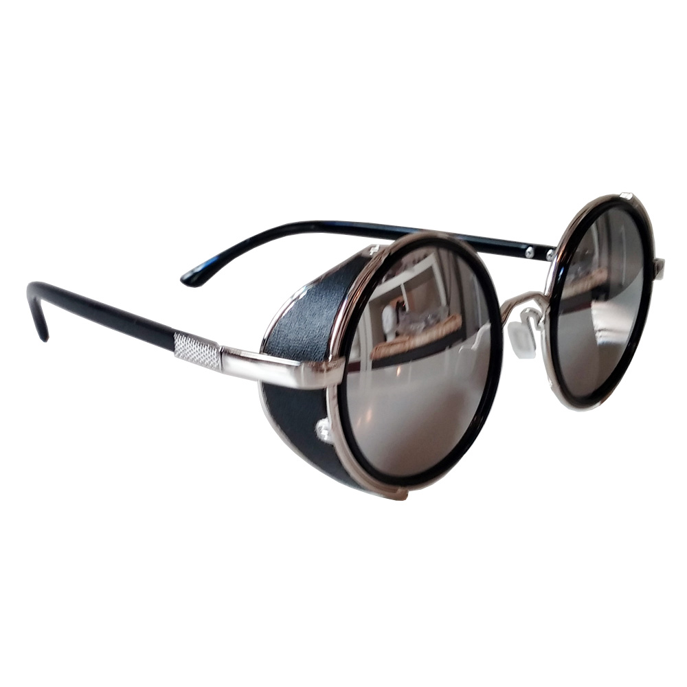 Round Sunglasses: Silver Frames, Mirrored Lenses & Side Shields