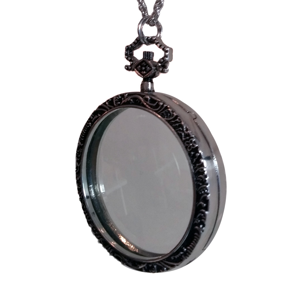 Silver-toned monocle necklace - side view