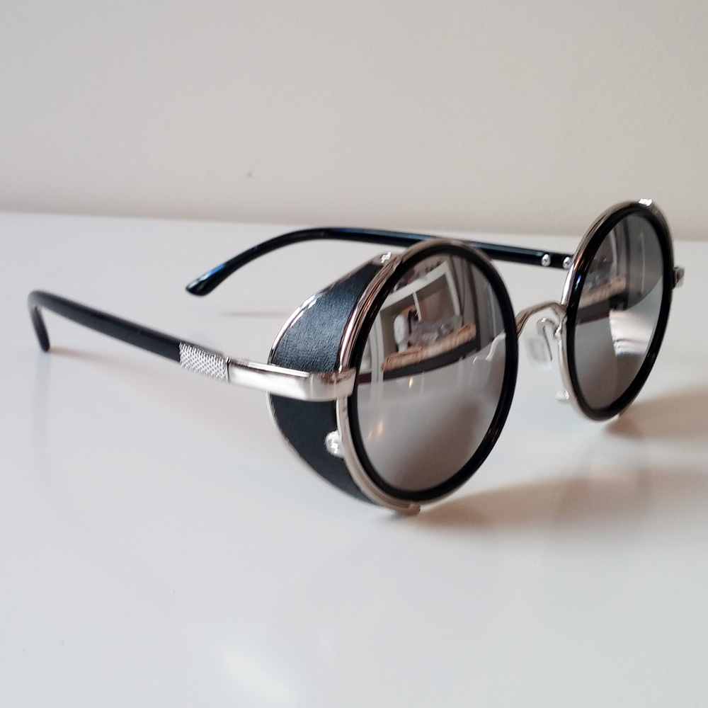 Round Sunglasses Silver Frames Mirrored Lenses Amp Side Shields