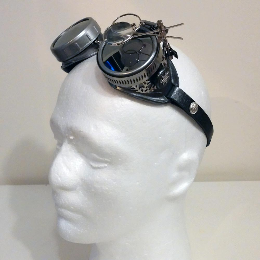 Winter Steampunk Goggles With Mirror Lenses & Eye Loupe