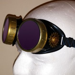 King of Steam - Crowned Goggles With Purple Lenses