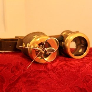 Brass & Brown Leather Goggles With Magnifiers