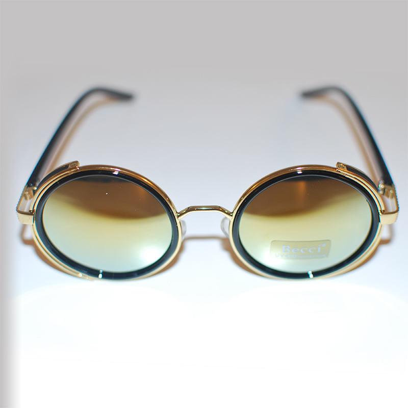 Mirror Lenses Sunglasses  round sunglasses gold blue green mirror lenses side shields