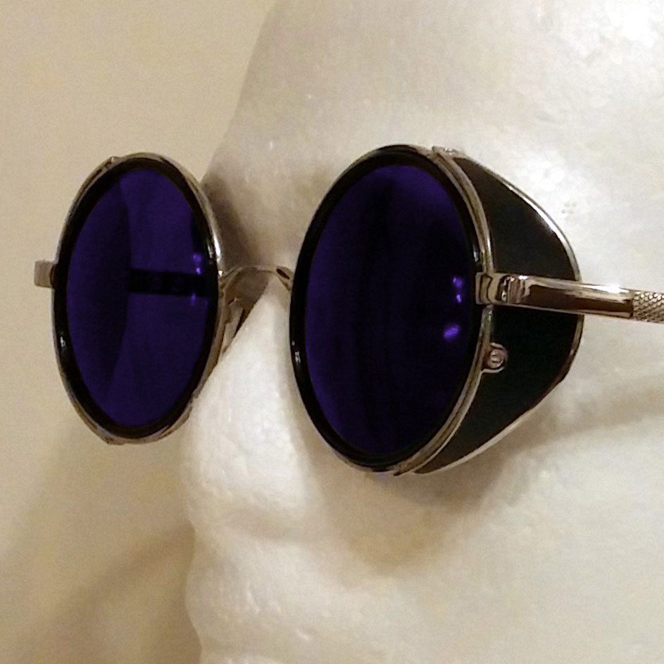 Transparent Blue Sunglasses With Side Shades Amp Silver Frame
