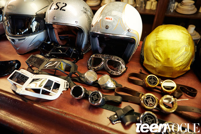 Steampunk Goggles and other accessories on display at the Teen Vogue cover shoot with Kylie Jenner
