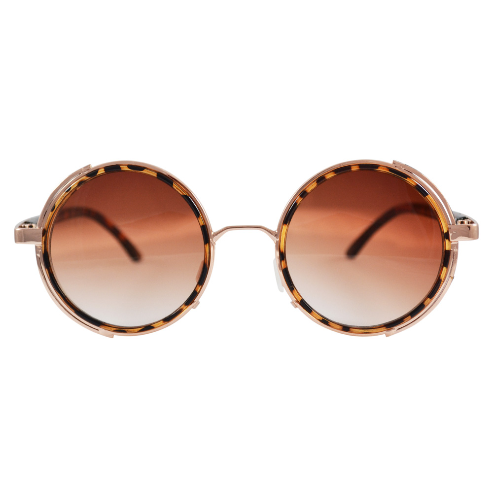1e9b5748c Round Tortoise Shell Sunglasses With Side Shields & Gradient Lenses