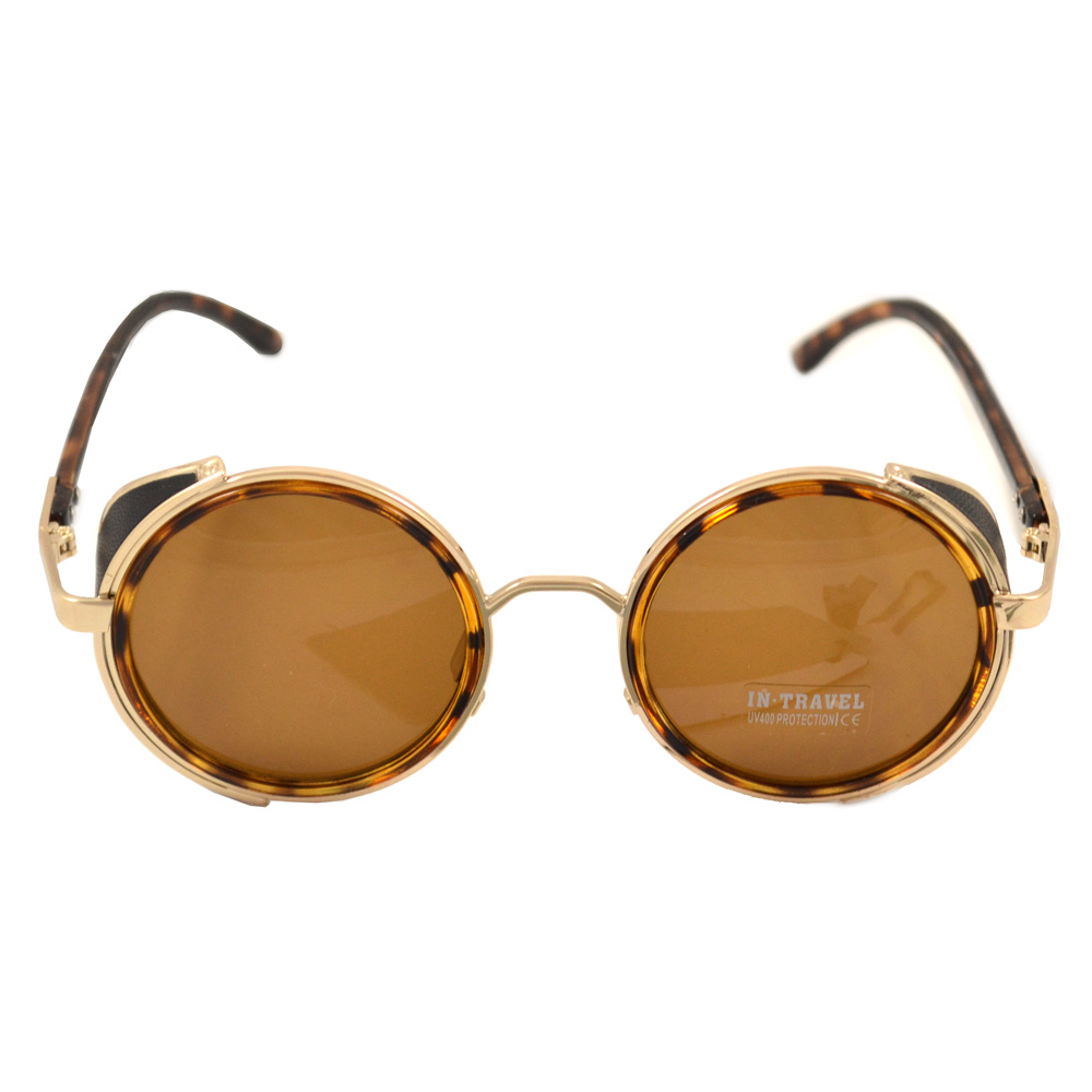 Round Tortoise Shell Sunglasses With Side Shields - Front View