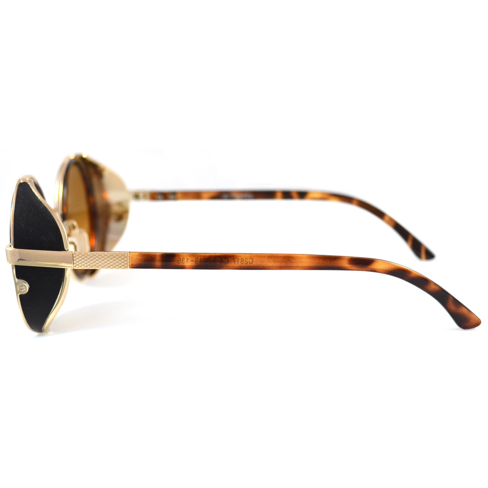 Round Tortoise Shell Sunglasses With Side Shields - Side View