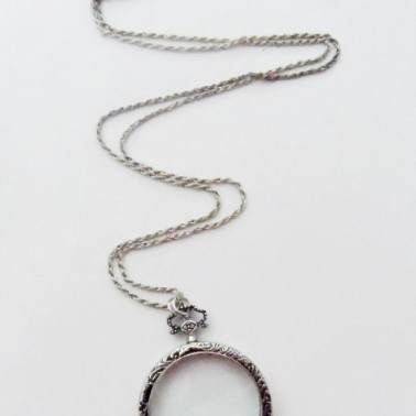 Antique Silver Monocle Necklace - Unisex