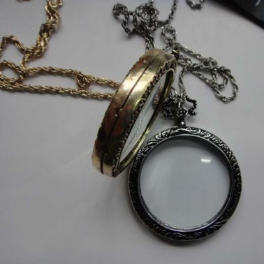 Antique Silver Monocle Necklace - Side Close Up