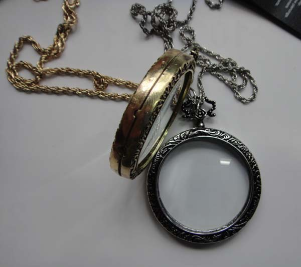 Antique Silver Monocle Necklace - Side Close Up