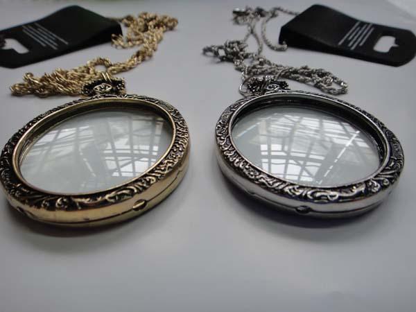 Antique Silver Monocle Necklace - Close Up