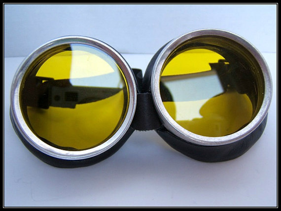 Black Leather Style Steampunk Goggles with Yellow Lenses