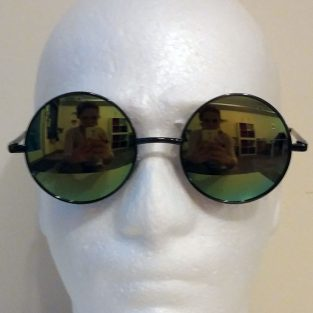 yellow / green reflective lenses with black frame & black temple covers - front